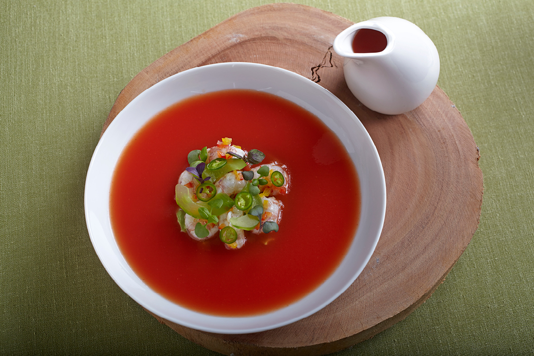 Chilled Early Girl Tomato Soup with Rock Shrimp Ceviche, Avocado Mousse