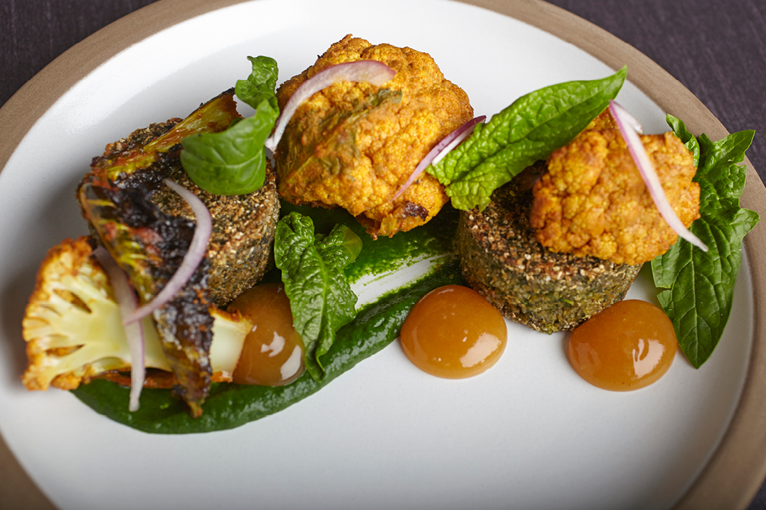 Crispy Lentil Cakes with Tandoori-Spiced Cauliflower, Curried Spinach, Mango Chutney