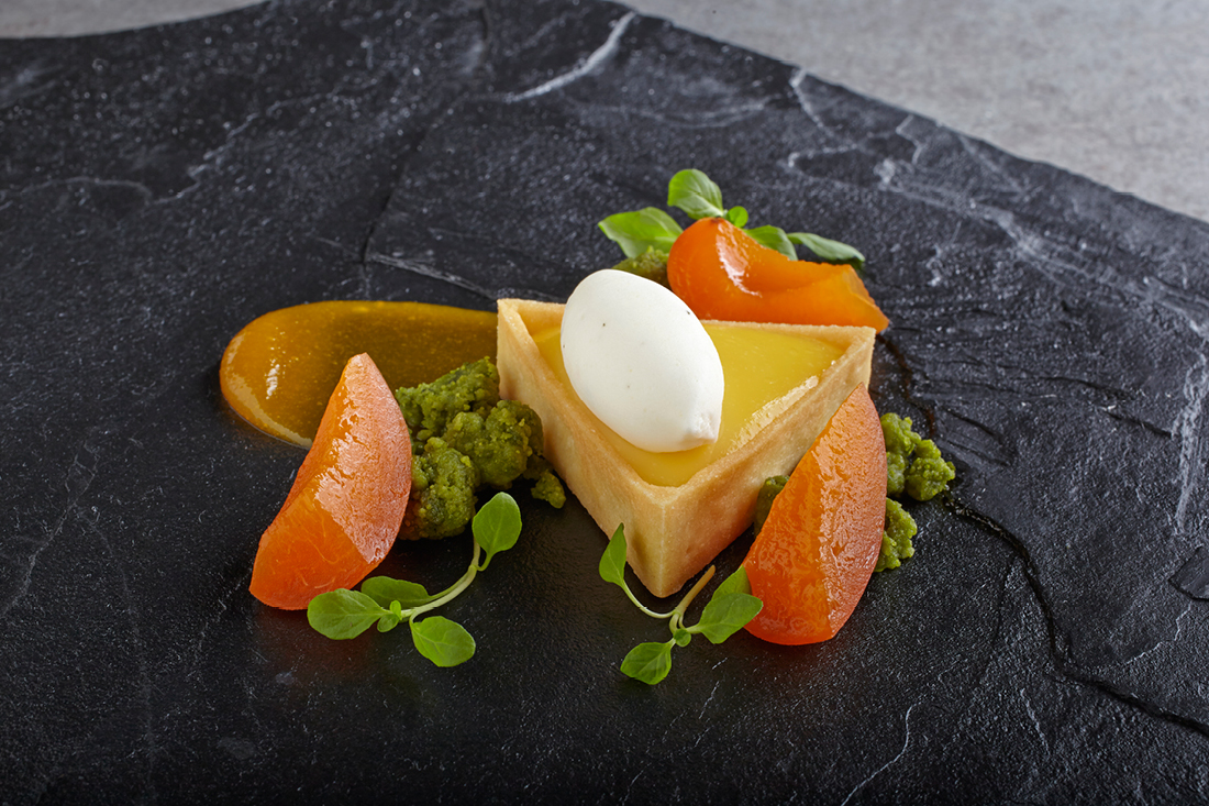 Lemon Verbena Tart with Honey Poached Apricot