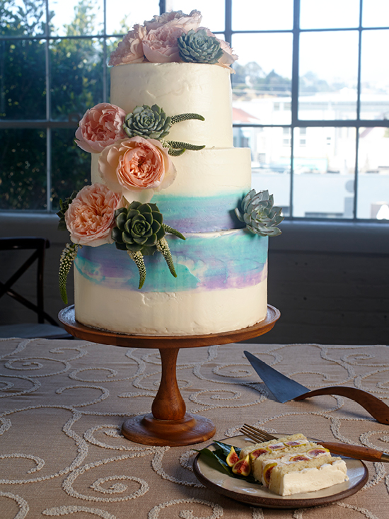Wedding Cake with Fresh Candy Stripe Figs