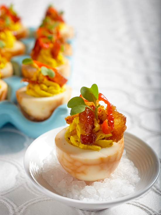 Smoked Deviled Egg with Candied Bacon
