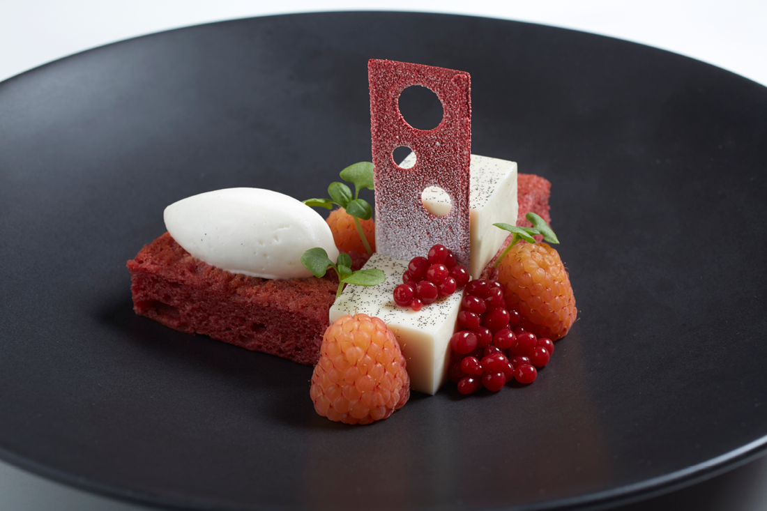 Raspberry-Beet Cake with Tahitian Vanilla Bean Panna Cotta and Sunshine Raspberries